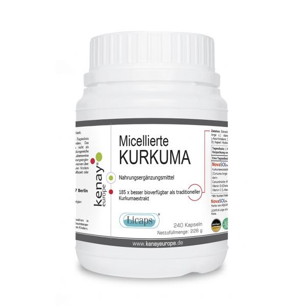 Micellierte Kurkuma Licaps (240 Kapseln) - Nahrungsergänzungsmittel